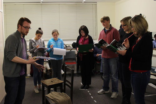 The cast of A Christmas Carol in rehearsal